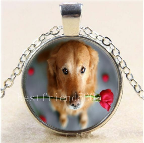 Cute Dog and Flag Cabochon Tibetan silver Glass Locket Pendant Necklace HZ-5725