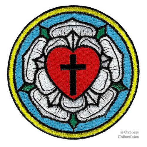 Luther rose brodé patch ÉGLISE LUTHÉRIENNE de fer sur croix chrétienne Motard Neuf