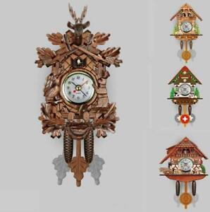 3D Christmas Gift Quartz Clock Wooden Cuckoo Wall Clock Home Art Decor