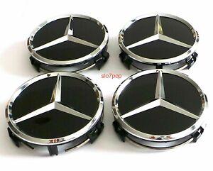 4-x-60mm-Mercedes-Benz-Schwarz-Nabendeckel-Nabenkappen-Felgendeckel-Wheel-Cap