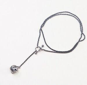 SILPADA-N1619-925-Sterling-Silver-SIMPLE-DELIGHT-Filigree-Ball-Toggle-Necklace