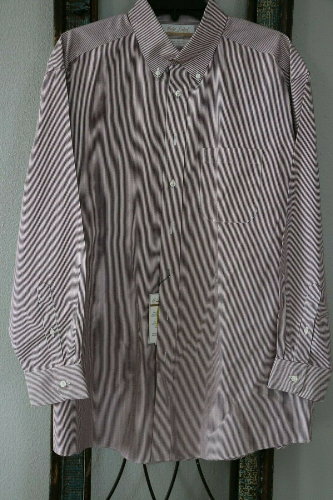 gold Label Roundtree & Yourke Men's Button-Down Shirt - Size XL - Cranberry