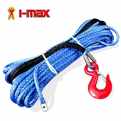 Dyneema SK75 Winch Rope, Cable 10mm x 30m & Hook Set for 4WD, 4x4, Boat Offroad