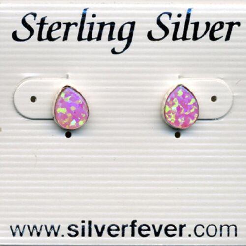 Teardrop Fire Sparkly Pink Opal Earrings Sterling Silver 925  Gift Boxed