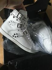 Yves Saint Laurent  Women's White Studded Court Classic Hi Top Sneakers Shoes 8