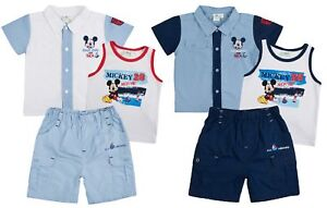 75e8c2334169 Disney Mickey Mouse Outfit 3 Piece Set Vest Shorts + Shirt Baby Boys ...