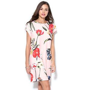 Robe-manches-courtes-fleurs-multicolores-femme-014892
