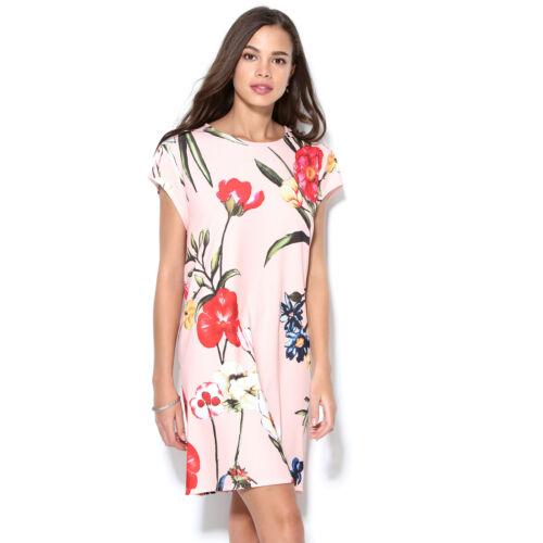 Robe manches courtes fleurs multicolores femme 014892