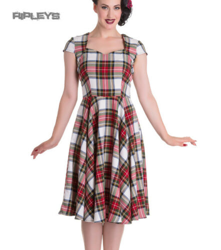 white Pinup Bunny All Red Tartan Dress 50s Sizes Hell Aberdeen Stewart AnY4Pnx
