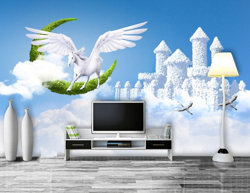 3D Cloud Fly Horse Castle 9 Wallpaper Mural Paper Wall Print Wallpaper Murals UK