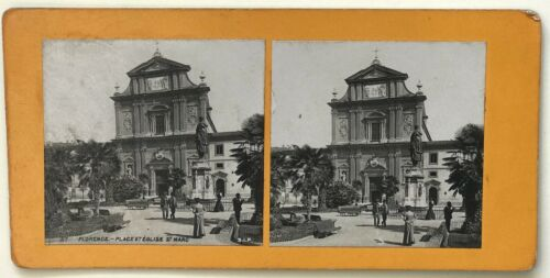 Florence Church St. Marc Italy Photo P39L9n9 Stereo Stereoview Vintage