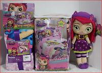 4 / 6 Pc- Little Charmers Comforter + Sheet + Blanket + Hazel Doll - Purple Twin