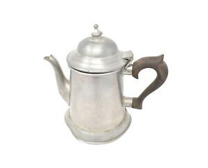 VINTAGE-SMALL-SILVER-COFFEE-POT-W-BROWN-ROSEWOOD-HANDLE-STIEFF-PEWTER-P32-15