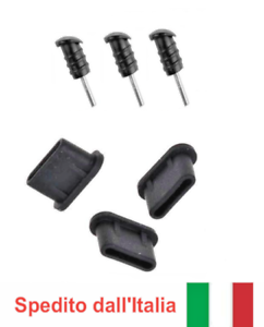 3x-set-tappo-antipolvere-USB-Type-C-amp-jack-Aux-In-3-5mm-x-GALAXY-A40-A50-A60-A70