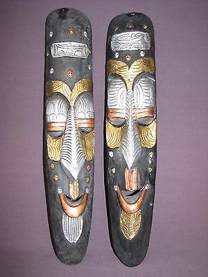 "Pair 19"" Akan Ashanti African Ghana Hand Crafted Wood Masks Etched Metal Beads"