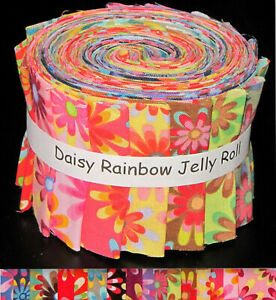 Jelly-Roll-Daisy-Rainblow-Flower-Daisies-Cotton-Fabric-17-Strips-2-5-034-Wide-X-44-034