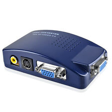 PC Laptop MAC VGA to TV AV Composite RCA S-Video Signal Converter Adapter Box