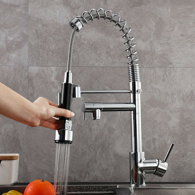 Single Handle High Pressure Spring Kitchen Faucet Pull Down Spout Sink Mixer For Sale Online Ebay