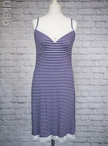 M-amp-S-Purple-Soft-amp-Stretchy-Chemise-Nightie-White-Lace-Trim-Size-12-Striped