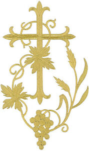 12&#034;H Fleur Cross W/Grapevine-Ve<wbr/>stment-Embroid<wbr/>ered Gold Metallic Iron On Applique