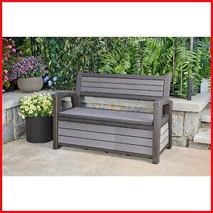 Keter Hudson Plastic Storage Bench 60 Gallon Deck Box Ebay