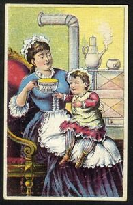 Mother Child McLAUGHLIN'S COFFEE Victorian Trade Card 1880's Baby Wants Drink