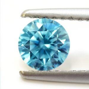 Lovely-0-95-ct-6-50-mm-VVS1-Fancy-Blue-Round-Brilliant-Cut-Loose-Moissanite-AU