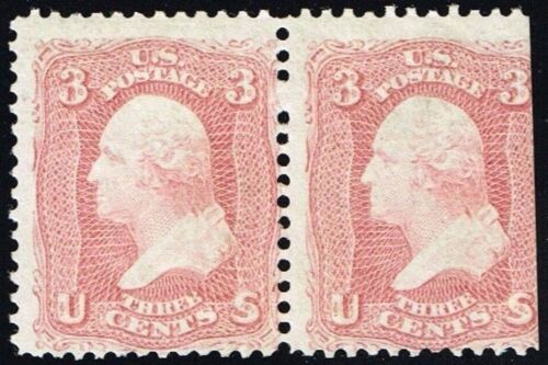 "US Sc# 65 MINT OG NH { 1c WASHINGTON PAIR } ROSE SHADE 1861 ""SCARCE CV$ 750.00"