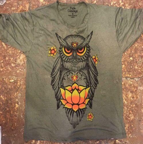 Yoga Hommes T Shirt Hibou Sage Animal Nature Illuminati paix Hobo Boho M PUR Coton