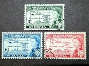 1958 St. Lucia Queen Elizabeth II West Indies Federation Complete Set - 3v Used