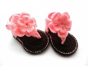 Handmade Crochet Baby Sandals Baby Shoes Spring Summer - Size M (3-6 ...
