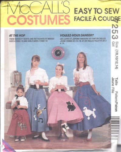 7253 UNCUT McCalls SEWING Pattern Misses Girls Halloween Costume Poodle Skirt 50