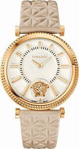 42403209094 Versace Women s VQG030015 V-HELIX Gold IP Biege Leather Wristwatch ...