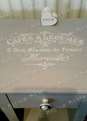 French Cafe STENCIL 4 sizes CL Vintage Furniture Shabby Chic SUPERIOR 250 MYLAR
