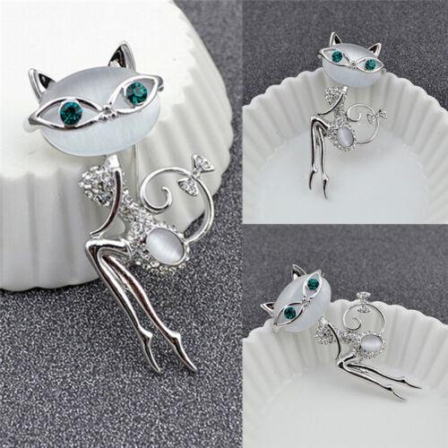 1x Opal Strass Kristall kleine Katze Brosche Tier niedlichen Schmuck