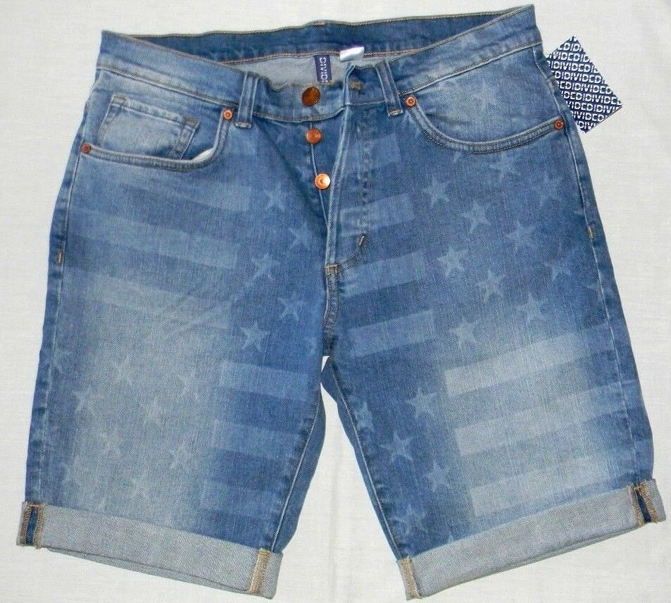 MENS DIVIDED BY H&M STARS & STRIPES BUTTON FLY DENIM SHORTS SIZE 28