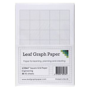 a5 graph paper 1 10 inch 0 1 squared imperial 30 loose leaf sheets