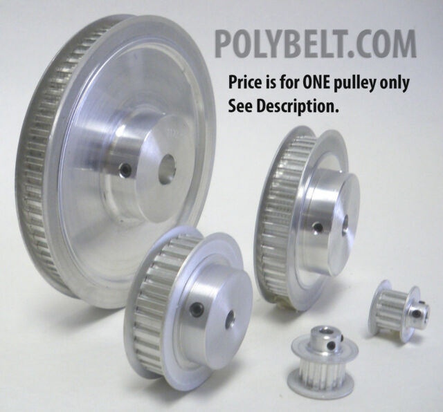 57XL037 Aluminum Timing Belt Pulley 57 Tooth, 3/8 Bore, 2 Flanges, 2 Set Screws