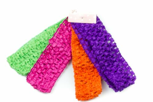 Girls Headband Crochet Soft Kylie Band Bandeau Assorted Bright Color pack of 4