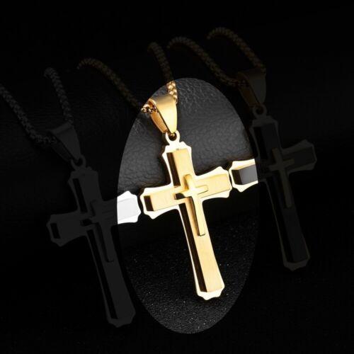 silber//gold//schwarz Top Herren Edelstahl Kette Halskette Kreuz Cross Anhänger