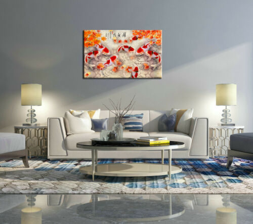 Art Wall China/'s Wind Feng Shui Koi Fish Painting printed On Canvas Decor Gifts