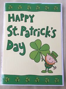 St Patrick's day Card, Leprechaun Holding 3 Leafed Clover. New An Sealed. ☘️☘️☘️
