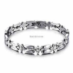 Ladies-Star-Golf-Stainless-Steel-Chain-Magnetic-Stone-Silver-Tone-Bracelet
