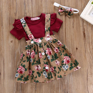 fd0656993054 3PCS Newborn Infant Baby Girl Outfits Clothes Set Romper Tops +Strap ...