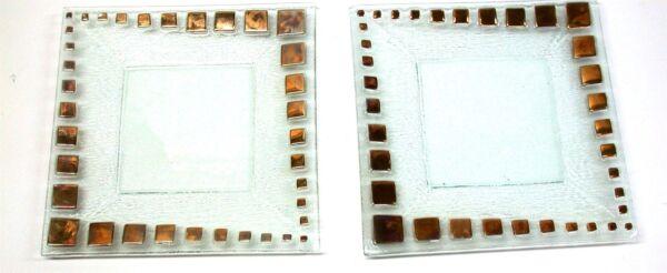 (2) Vidrio Transparente Platos W/ Dorado Cuadrados Decoración ~ 27.3cm X 27.3cm