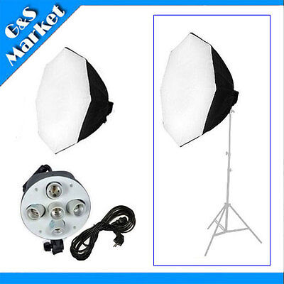 Photography studio kit 60cm/24in Octagon Softbox + 5 E27 socket lamp holder head