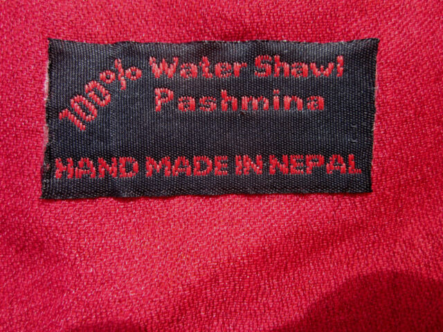 "100% WATER PASHMINA CASHMERE MONK MEDITATION SHAWL 80 X 28"" HAND MADE NEPAL"