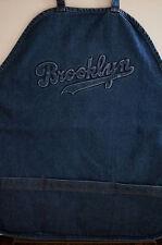 Brooklyn Script Blue Jean Denim APRON Adjustable Wide Strap 3 ROOMY POCKETS