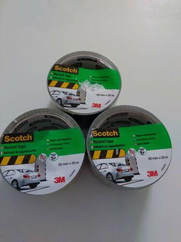 3 X Scotch danger ruban-Jaune et Noir 50 mm x 33 m