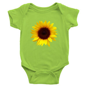 Yellow Sunflower Infant Baby Rib Bodysuit Newborn Baby shower Gift babysuit